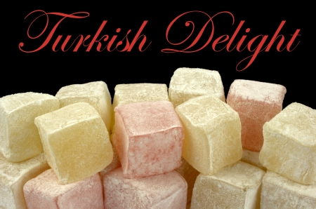 turkish delight: Turkish delight and sample text on black background