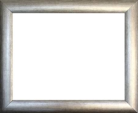antique frame: Plain silver  picture frame on white background
