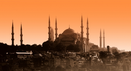 Sultan ahmet mosque at sunset, Istanbul photo