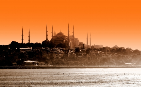 Sultan ahmet mosque at sunset, Istanbul