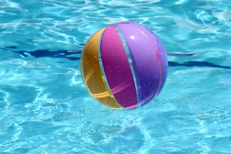 sommer: Beachball and swimmingpool. sommer vacation