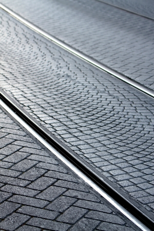 Tram rails with cobblestone in Istanbul - Sultan Ahmet place. photo