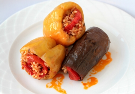 Turkish cuisine. ( Dolma ).  pepper and eggplant stuffed photo