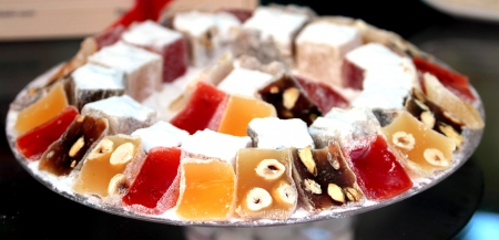turkish delight: Delicious Turkish delight with hazelnut and rose aroma Stock Photo