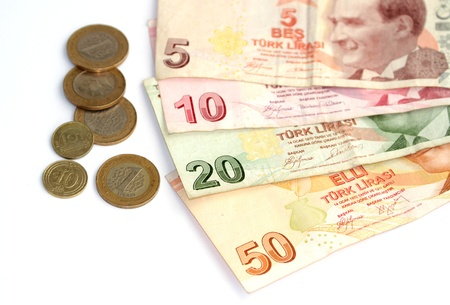 Turkish lira banknotes and coins photo