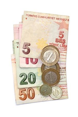 Isolierte Bild Der Türkischen Lira Münzen Und Gefaltete Scheine