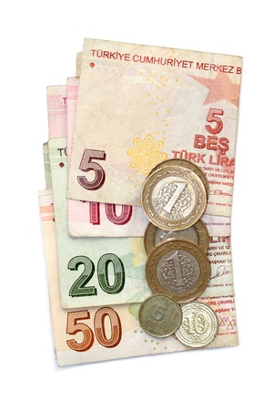 Turkish lira coins and folded banknotes photo