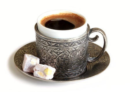 embossed: Turkish coffee and turkish delight with old traditional embossed  metal cup