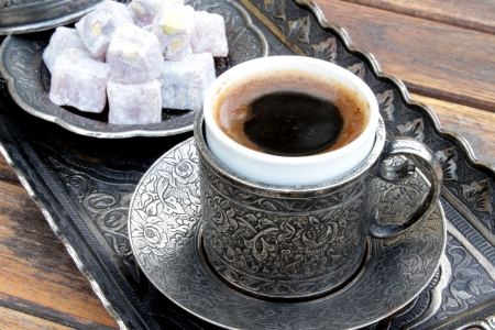 turkish coffee: Turkish coffee and turkish delight with old traditional embossed  metal cup