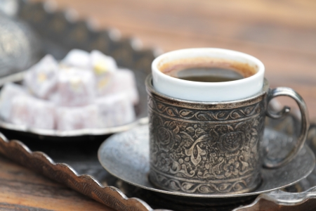 Turkish coffee and turkish delight photo