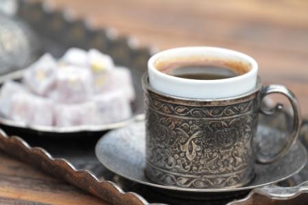 Turkish coffee and turkish delight Stock fotó