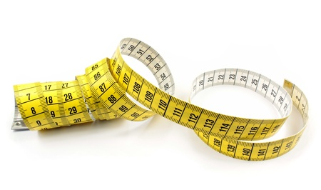 Tape measure on white background photo