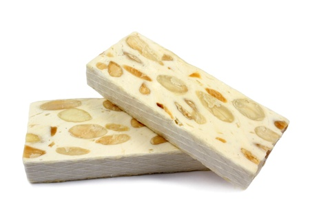 French nougat on a white background
