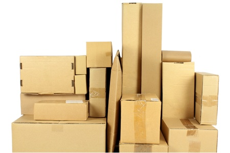 Stacked carton boxes post package on white background Stock Photo - 15793621