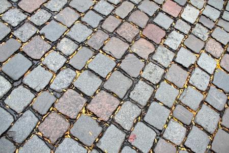 road paving: Brown y piedras grises de pavimentaci�n de caminos Foto de archivo