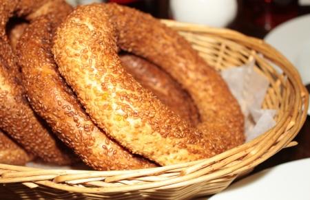 turkish bread: Traditional Turkish Bagels - Simit Stock Photo