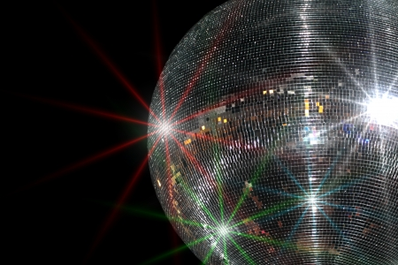 large ball: Disco ball and sparklings Stock Photo