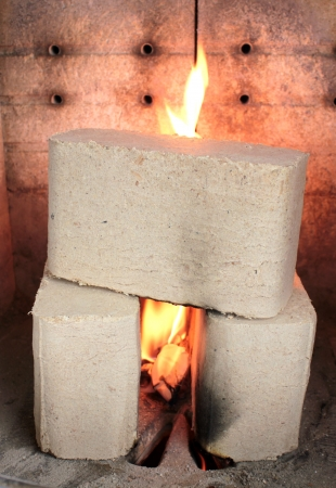 briquettes: Wood briquettes burning in stove