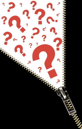 Zipper opening concept and  question marks Stock Photo - 16443667