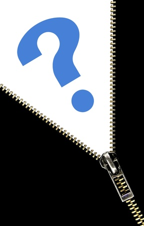suspected: Zipper opening concept and blue question mark Stock Photo