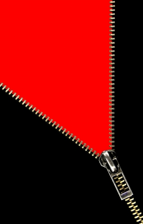 unbuttoned: Zipper opening concept on red background