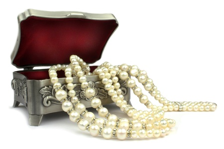 Jewelry box and pearl necklace photo