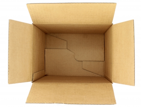 Empty cardboard box, top view on white background 免版税图像