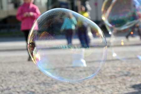 blowing bubbles: Big soap bubbles