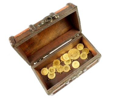 deposits: Treasure chest with gold on white background
