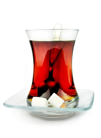 red tea: Turkish tea in traditional glass  Stock Photo