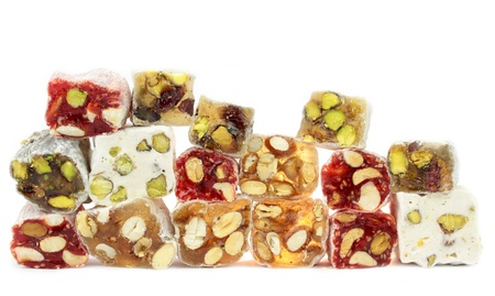 turkish delight: Turkish delight with nuts isolated on white background