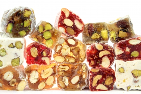 turkish delight: Turkish deligt with various nuts