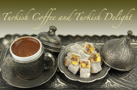 Turkish coffee and delight photo