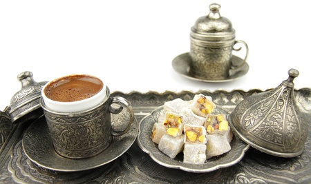 Sweet Turkish delight and Turkish coffee Stock Photo