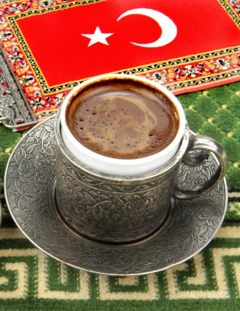 turkish flag: Turkish coffee and turkish flag on a carpet