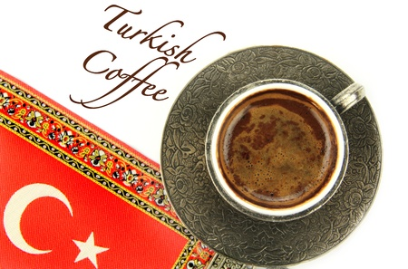 turkish flag: Turkish coffee and turkish flag on background Stock Photo