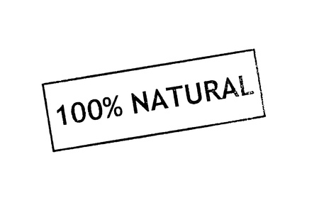 environmentalist label:   100  Natural   Rubber stamp print