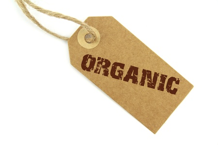 environmentalist tag: Natural paper label and brown   organic   text