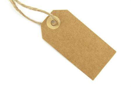 papier naturel: �tiquette vierge papier naturel avec corde