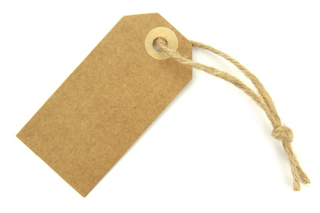 Natural paper blank label with knotted rope photo