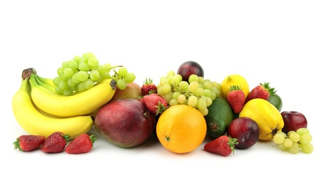 Colorful fruit mix,  isolated on white background