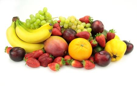 mix fruit: Colorful fruit mix,  isolated on white background