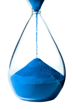 Blue hourglass on white background