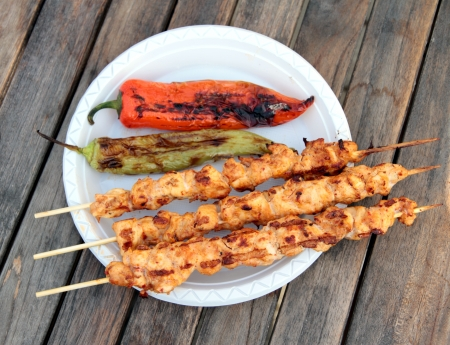 shish: Shish kebab with grilled red and green peppers Stock Photo