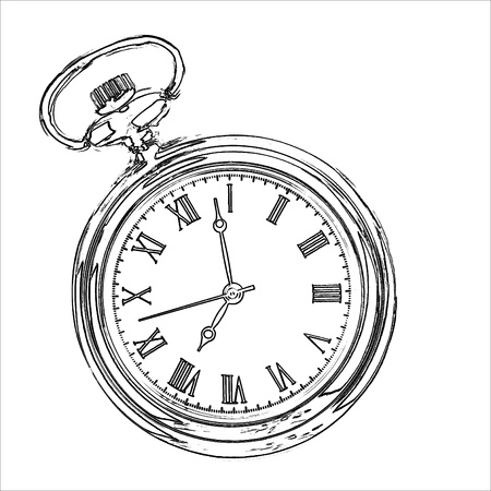 Pocket watch, drawing Stock Photo
