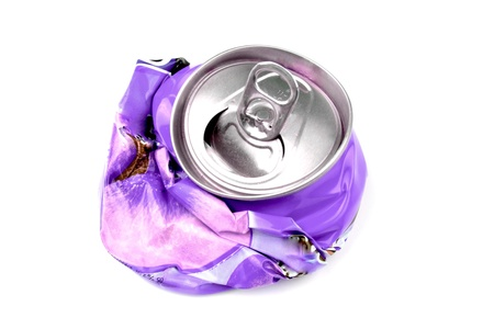 crushed aluminum cans: Crushed drink can