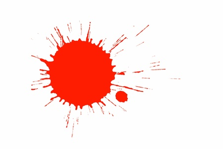 ink spot: Red paint splashed on white Stock Photo