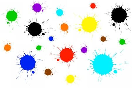 wet paint: Color splatter on white
