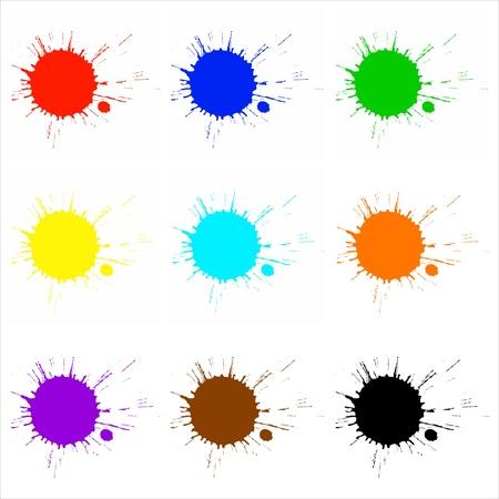 paintball: Color paint splashes set Stock Photo