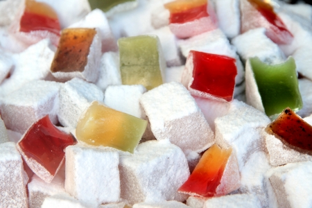 close up image: Colorful Turkish delight close up image